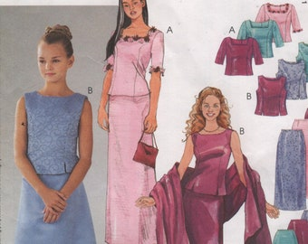 772d7e68 Girls Two Piece Gown: Top with Princess Seams, Button Back, Slim or A-Line  Skirt & Stole, Size 7 8 Sewing Pattern