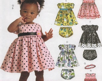 275853b5aa46 Baby Girl Dresses with Panties & Headbands, Infants Sizes S M L XL to 29  lbs, Uncut Sewing Pattern