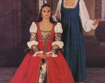 421396878 Renaissance Costume Gowns, Empire Waist Dress with Overdress, Headcover &  Hat, Womens and Plus Size 18 20 22 Uncut Sewing Pattern