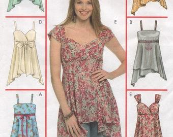fe3d996e9e Plus Size Tops, Bodice & Strap Variations, Shaped Hemline, Womens 26W 28W  30W 32W Uncut Sewing Pattern