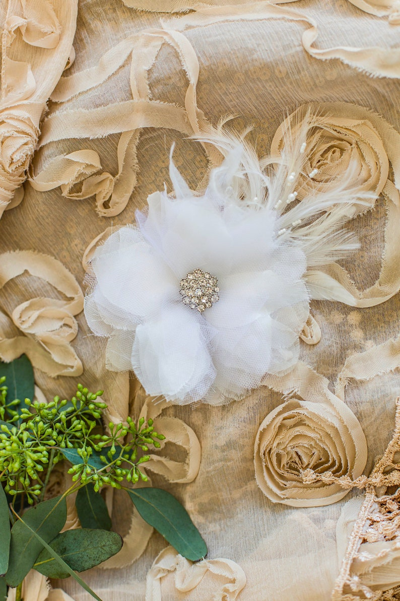 Wedding Feather Fascinator   Wedding Hair Clip Feather Hair Clip Gatsby Headpiece Wedding