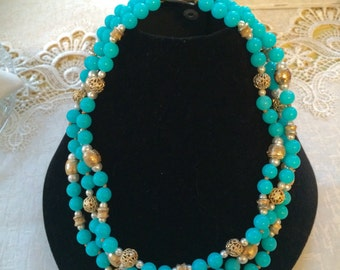 Necklace Vintage Jewelry, Something Blue Something Old Beaded Necklace VintageShort Necklace Marti & Co