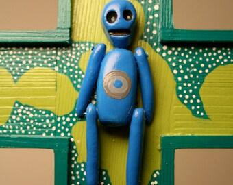 Day of the dead Blue skeleton alien green halo clay cross