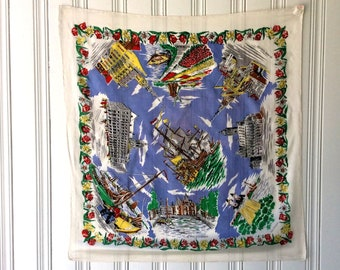 DUTCH SOUVENIR SCARF Silk Hand Rolled Delicate 1960s Tourist Large Travellers Headscarf or Neck Scarf Holland Amsterdam
