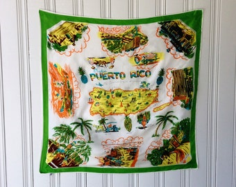 Vintage Silk Rayon Puerto Rico 1950s 1960s Souvenir Scarf Large Hand Painted  Tourist Souvenir Head Scarf Green and White Made in Japan