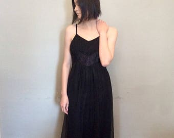 BLACK CHIFFON NIGHTGOWN Sheer black Double Layered Nightie or Dress Lace Bodice insert Valentines Day Gift for Her