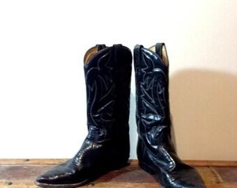 38d7d0aacd9 EN vente 20 % de réduction vintage cuir estampillé Sancho bottes de Cowboy  faible talon noir et lézard Look bottes faite dans la taille de l Espagne