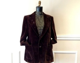 b21559b393a3 ON SALE 20% off vintage Brown Velvet Beautifully and Mildly Beat up  Professor Disco Chest 42
