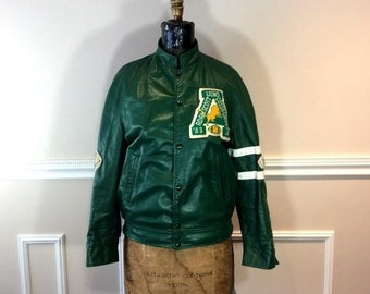 ON SALE 20% off vintage Green Leather Varisty Football Jacket 1980s   Letterman  Jacket   Athletic Sports   Football Jacket   Chest cc1f57031