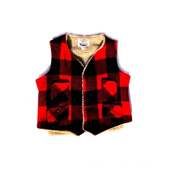 Timeless Style M ! Chic Black /& Red Plaid Wool Blend with Gold Buttons French 1980s Women Vintage Jacket Vest