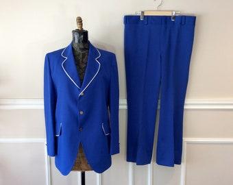 "vintage 1970s Blue Polyester Suit / 2 Piece Barber Shop Quartet Costume / Marching Band Outfit / Chest 44"""