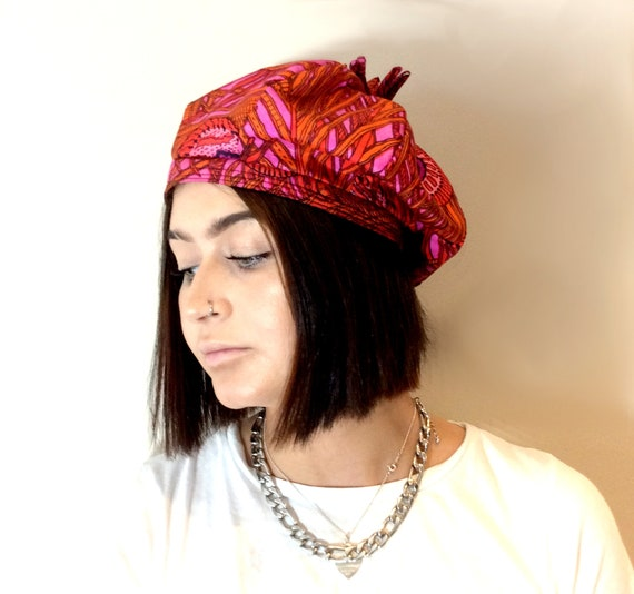vintage 1960s Silk Beret Tam Pink, purple and gold