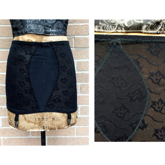 vintage 1950s Girdle Open Bottom with Garters Blac
