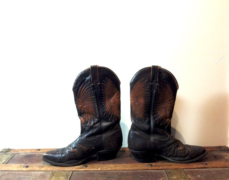 48a2585564a vintage Boulet Cowboy Boots Indian Head Stamped Stitched Detailing Mens  Size 8 Womens 10/11 1970s