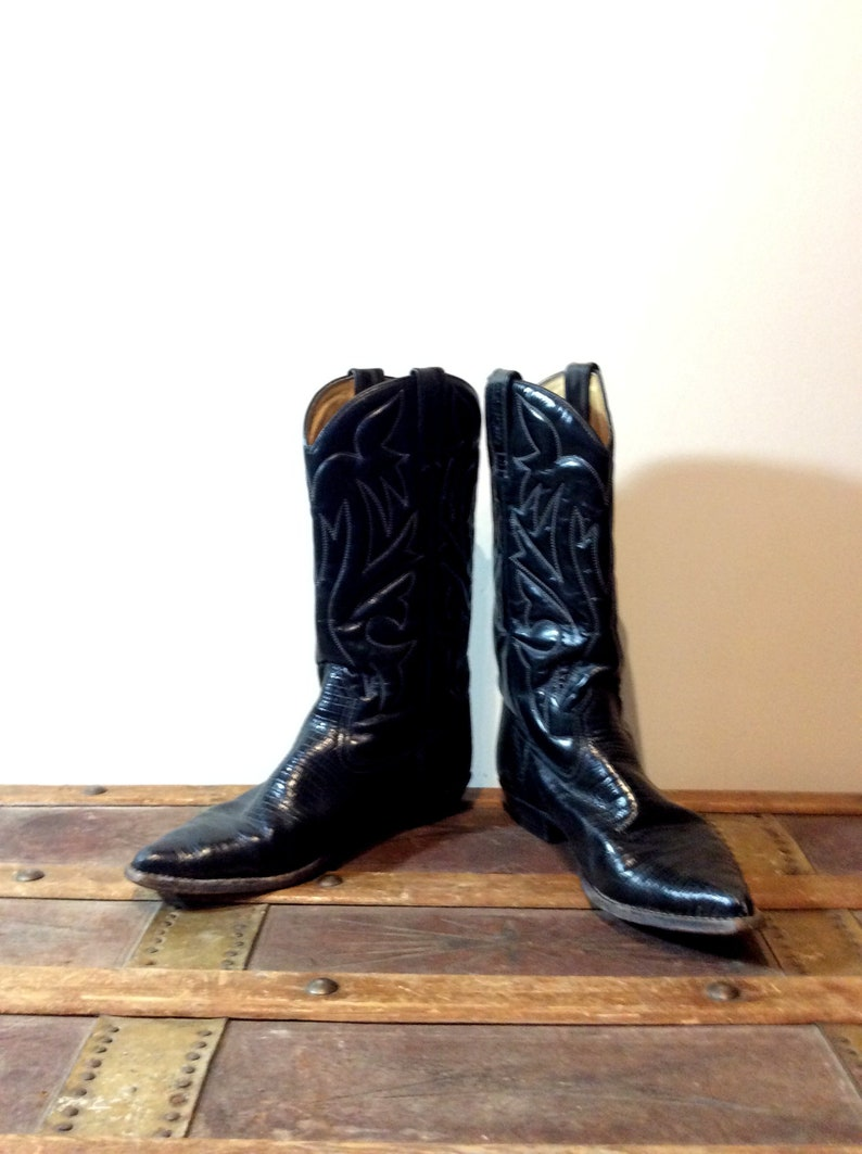 3a49402e15a vintage Sancho Cowboy Boots Low Heel Black Stamped Leather and Lizard Look  Boots Made in Spain Size