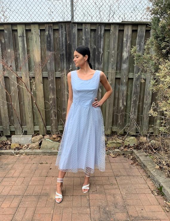 vintage Blue Party Dress 1960s late 50s M/L Pale B