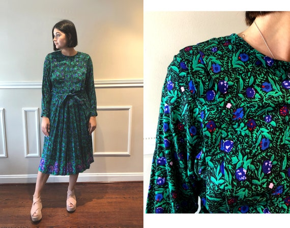 Vintage 80s/ 90s Green and Purple Dress Floral Lau