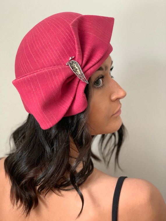 vintage Pink Hat 1960s Cloche Hat with Big Bow Top