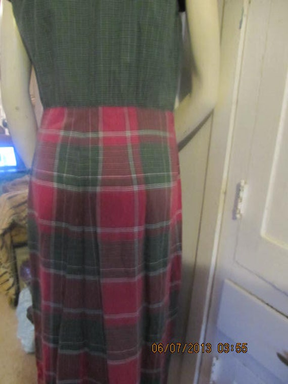 1940'Madras Plaid Claire Tiffany Front Pleated Day