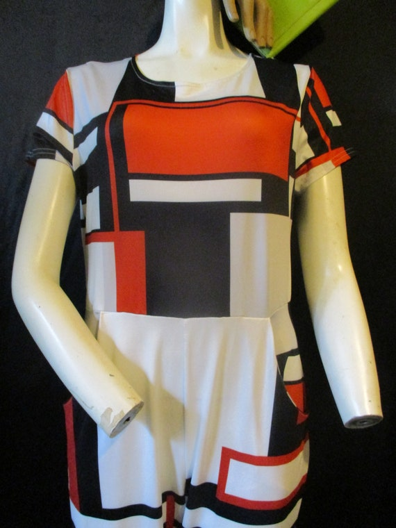 70s Abstract Modern Jumpsuit Red White And Blue