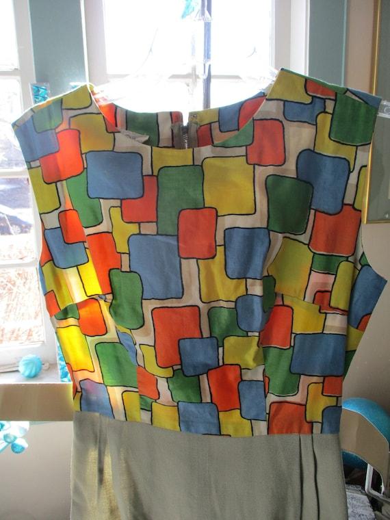 50's 60's Killer Edith Flagg Abstract Dress Mod Sc