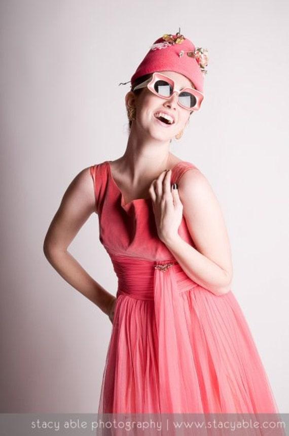 Classic 50's 60's Pink Chiffon & Velvet Sophistica