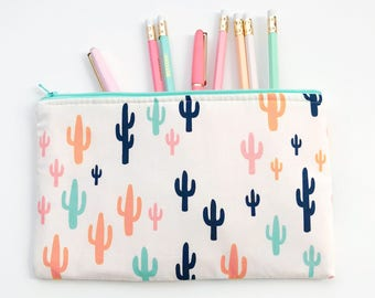 Cactus Zipper Pouch, Cactus Pencil Case, Cacti Pouch, Succulent Cosmetic Bag, Gift bag, Cosmetic pouch, Essential Oil Bag, Womens Gift
