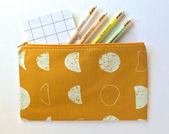 Moon Phases Zipper Pouch, Mustard Pencil Case, Moon Pencil Pouch, Space Cosmetic Bag, Yellow Gift bag