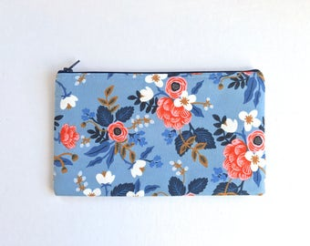 Rifle Paper Co Fabric Zipper Pouch, Pencil Case, Birch Floral Pencil Pouch, Periwinkle Cosmetic Bag, Gift bag