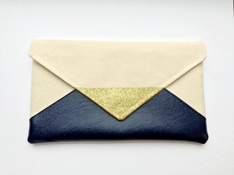 Navy Glitter Envelope Clutch Glitter bridesmaid clutch image 0