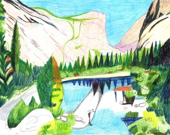 "Colored Pencil Drawing. Yosemite National Park - Mirror Lake and Mt. Watkins, Yosemite Valley. 8"" x 10"""
