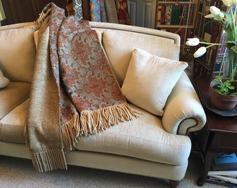 Moroccan Throw, Decorative Throws, Mosaic Masterpiece, Tapestry Wall  Hanging, Cozy Quilt, Sofa Throw, Old World Elegance, Orange Paisley