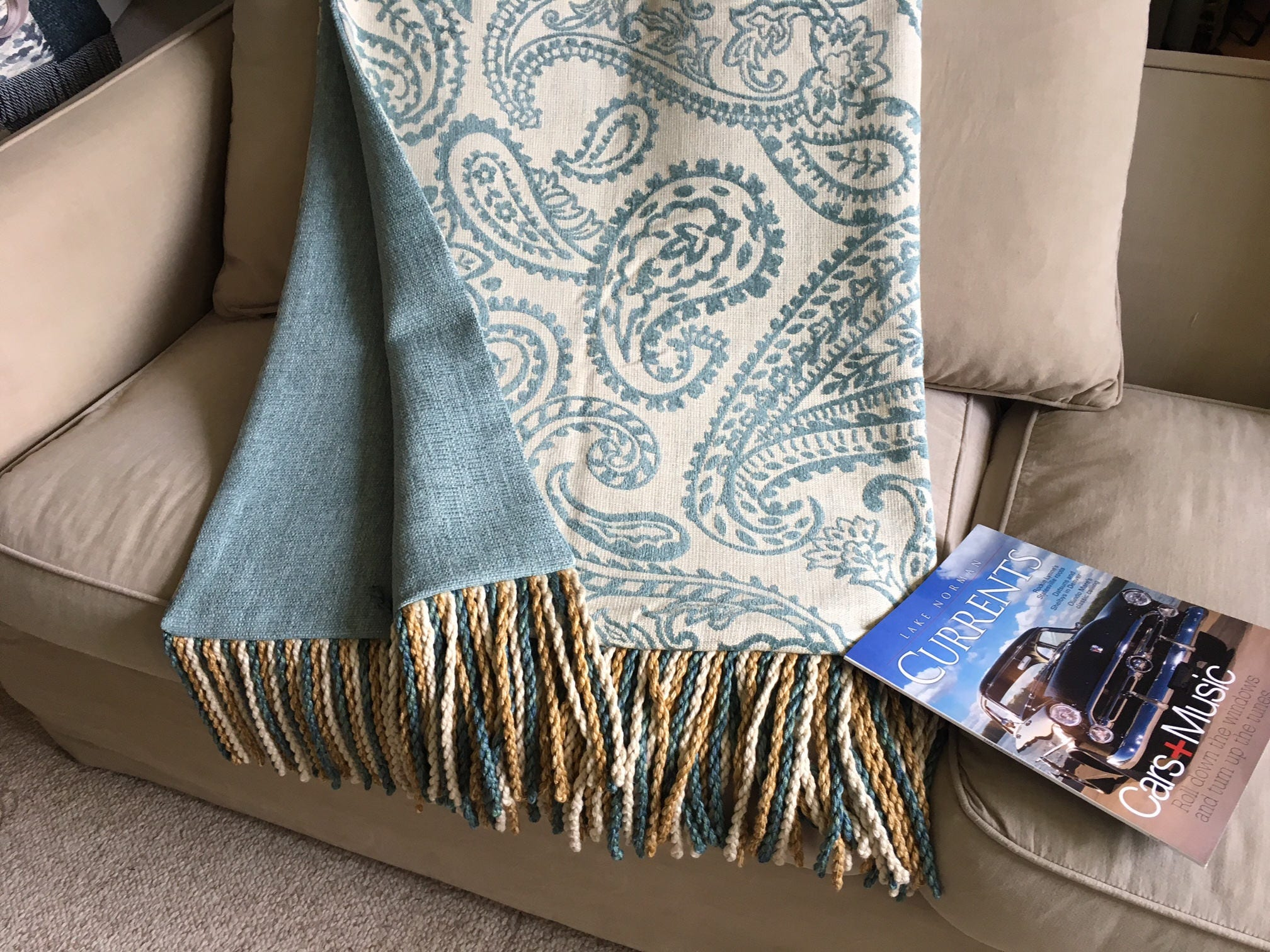 Blue Paisley Throw Blanket Turquoise Bedding Sofa Cover
