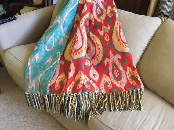 Ikat Throw Blanket, Sofa Throw, Moroccan Red Throw, Tribal Rug Paisley  Design, Summer Throws, African Jungle, Luxurious Throw, One of a Kind