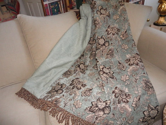 Jacobean Floral Custom Throw Blanket Blue Aqua Turquoise Etsy Amazing Custom Throw Blankets From Photo