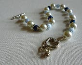 Blue and White Glass Pearl Bracelet with Silver Heart Toggle Clasp