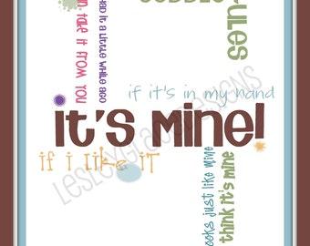 Toddler Rules, Typography Art, 8x10 digital print