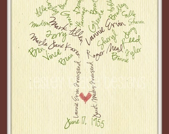Custom Family Tree, Typography, 11x14