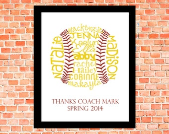 Softball... Typography Art, 8X10