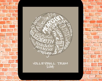 Volleyball... Typography Art, 8x10