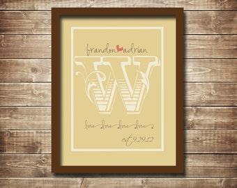 Monogrammed Wedding/Anniversary Digital Print, Typography, 11x14
