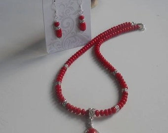 Handmade beaded Coral Necklace with red Turquoise Pendant