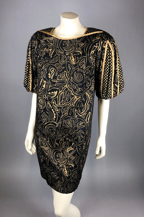 1980s Black & Gold JEANNE MARC Dress w/ Puff Slash