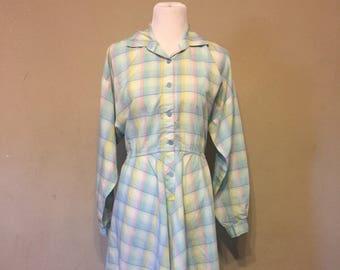 1960s 1950s Pastel Blue Plaid Vintage Shirt Dress - Size 22 - Plus Size Dress - XXL - Plus Sized Vintage - Plaid Dress