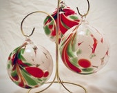 Hand Blown Glass Ornament - Christmas Feather