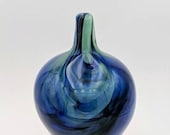 Glass Marble Blue Green Vase
