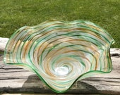 Hand Blown Glass Dish Swirl Multi