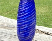 Hand Blown Glass Blue Vase Tall