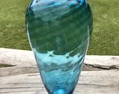 Hand Blown Glass Vase Blue Large