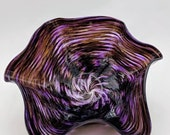 Glass Purple Floppy Bowl